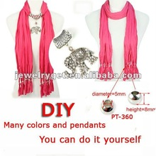 DIY Scarf,15 colors solid scarf and 15 designs pendants mixed,FedEx or EMS free shipping,PT-1052
