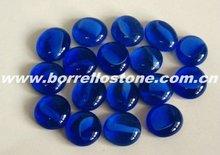 Clear Flat Blue Glass Beads