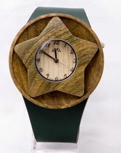 PU leather strap with five-star shaped wooden case, 2012 most unique unisex wooden watch