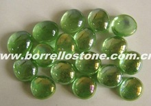 Green Flat Glass Beads