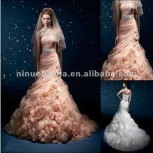 NY-2616 Elegant belt with natural handmade flower organza wedding gown