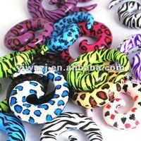 Fashion Leopard Print Zebra Print Ear Spiral Ear Tapers body piercing jewelry
