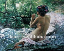High quality realistic chinese girl nude oil painting