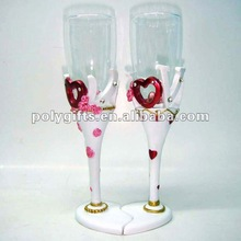 polyresin colored glass goblet wedding souvenir
