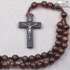 Round Brown Wooden Beads Wall Rosary