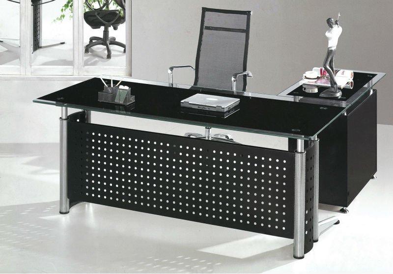 Gerente de oficinas de vidrio templado mesas de oficina decoración