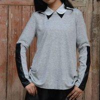 YIGELILA Women Fashion Long Sleeves Grey Casual Shirt 742