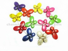 CH-LSB0275 Dyed howlite butterfly beads strand 25X35mm stone crosses
