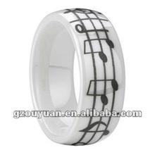 Único! diseño personalizado anillo de cerámica con nota musical, anillo de la música