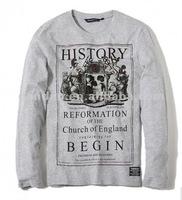 Custom cheap men's grey v-neck long sleeve cotton t-shirt