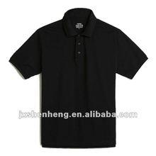 2012 comfortable 100% cotton short sleeve v-neck turndown collar plain black polo t-shirts