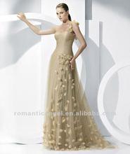 Free Shipping Elegant One shoulder Flower Decorate Full Length Evening Dress 2012
