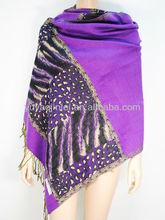 Jacquard purple scarf,Zebra-stripe tippet,Fashion accessories