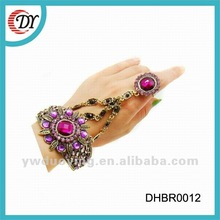 European American Fashion Jewelry Ring Attached To Bracelet