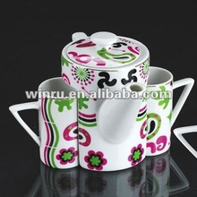 newest design nice shape ceramic coffee tea pot with mug with nice decal
