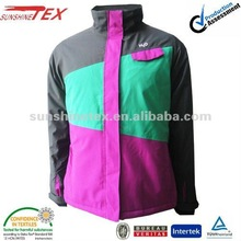 2012 New style Ladies' white match red and black soft shell padding jacket with hood