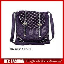 Trendy Shiny Studded Handbag,Contrast Quilted Satchel Bag,HD-66514