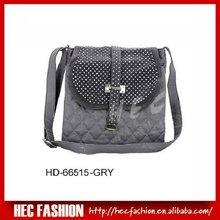 Trendy Shiny Studded Handbag,Contrast Quilted Satchel Bag,HD-66515