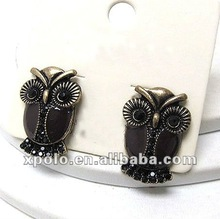 Wholesale Fashion Crystal Epoxy Owl Pendant Earrings Jewelry