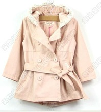 Hot sale girls dust coat hooded with belt solid