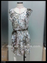 new fashion dress with printing in chiffon for elder women in 2012