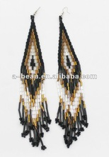 charming golden seed beads long fringe & drop earrings