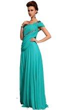 Beautiful blue A-LIne Beaded leaf pattern one shoulder Floor Length Evening Dress