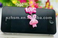 Pink rabbite smart 3d soft pvc fashion cartoon lovers phone hang drop strap pendant