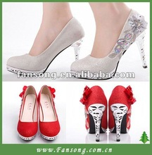 Elegant Sexy Rhinestones hight heel Bridal Wedding Shoes red high heel wedding shoes