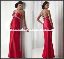 PR155 Fashion Red Halter Beaded Long A-Line Evening Dress