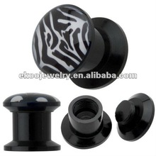 Body Piercing Black Acrylic Zebra Skin Stash Screw Plug