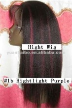 Hot Sale Brazilian Remy Hair #1B Highlight Purple Full Lace Wig Wholesale