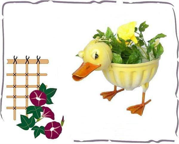 pato de metal decorativos jardineras y macetas
