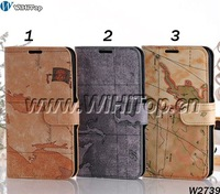 Landscape Mape Leather Flip Case For Samsung Galaxy Note 2 II N7100 With Card Slots And Stand Funtion