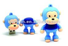 Baby Milo Ape Cartoon Soft Rubber 4GB USB Memory Flash Drive Disk Blue