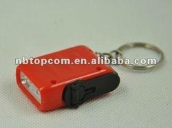 Mini hand crank dynamo led keychain light