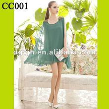 CC001 Women Green Chiffon Casual Drss For Ladies 2012