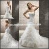 MG068 Amazing Strapless Beaded Applique Ruffled Tulle Chapel Train Mermaid White Velvet Wedding Dresses