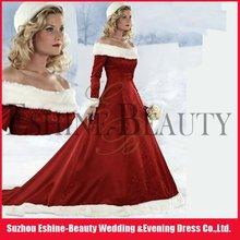 Top popular red satin long sleeve winter wedding dresses fur