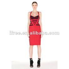 Cheap fashion halter strap red short cocktail dress for children