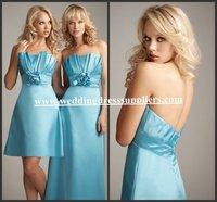 AL1227 Wonderful Unique Strapless Ruffles Flowers Empire Low Back Short Ice Blue Bridesmaid Dresses