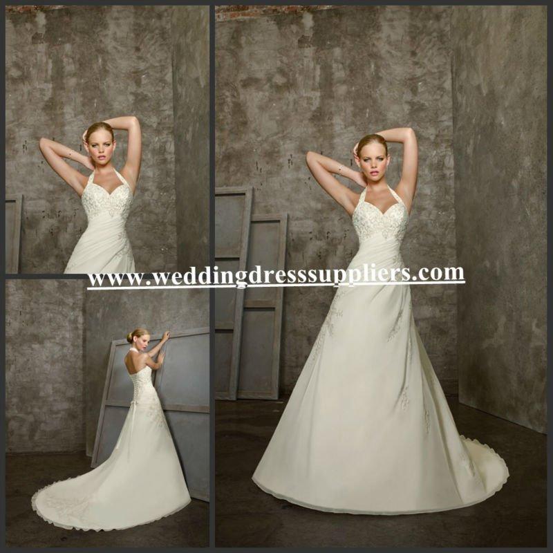 WDS3029 Mordern White Halter A-line Long Length Chiffon Suzhou Wedding dress