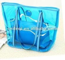 Sky blue color two piece one set Pure clear beach bag hot sale