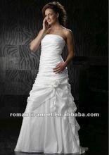 hot sale elegant strapless sheath ankle-length wedding dress