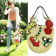 Flower bags fashion Knit straw beach handbags women bag