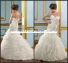 ML079 New Design Gorgeous Tiered Strapless White Organza Princess Mermaid Trumpet Wedding Dress Organza Ruffles Skirt