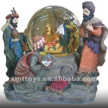 Baby Jesus and Resin Figurines with snow globe