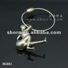 2012 Newly arrival Metal Stainless Steel Wire Key Chain with people shaped