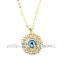 2012 latest fashion charm gold diamond necklace ,turkey evil eye wholesale(JW-6036)