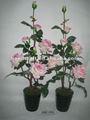 2015 Style artificielle fleurs Rose sept têtes fleurs avec Pot en plastique MH-121